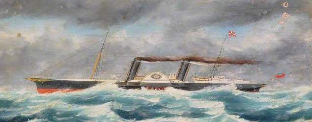unknown artist; Paddle Steamer Passing South Stack in a Storm
